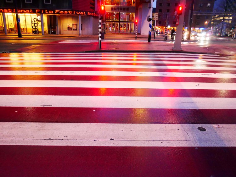 Pink and white pedestrian crossing and street lights at night in Rotterdam - the Netherlands