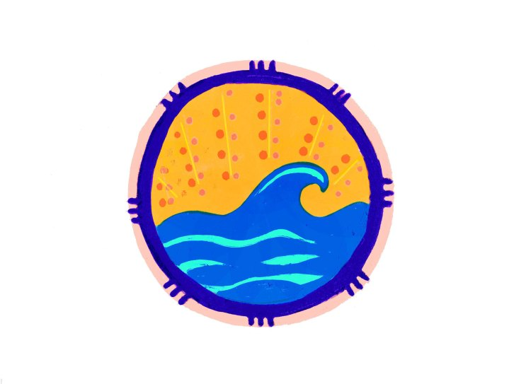 Drawing of a round filled with a blue wave and an orange sky