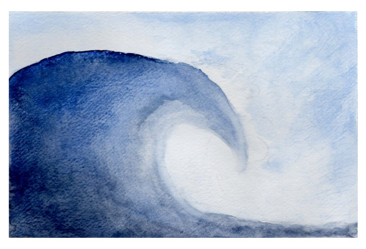 Watercolor painting of a blue wave