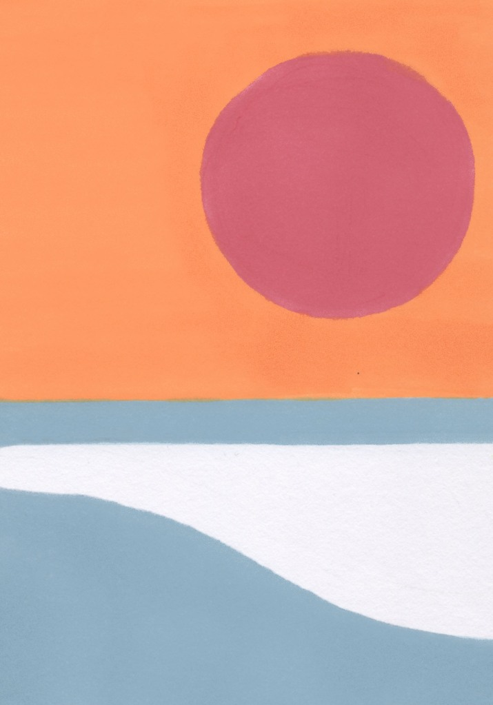 Drawing of a breaking wave with a big red sun in the sky