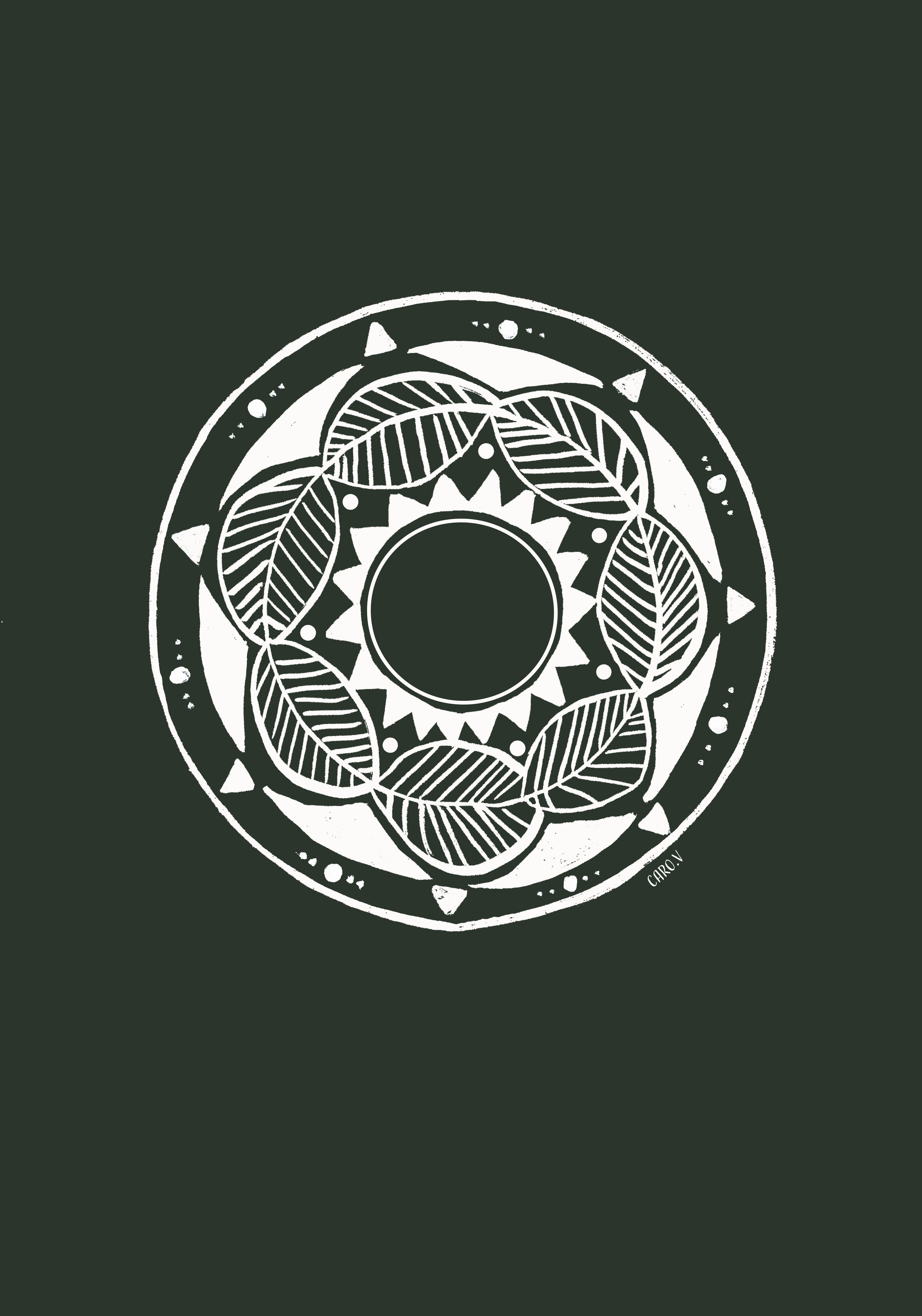 Drawing of a white mandala on dark green background with a sun in the middle, surrounded by leaves