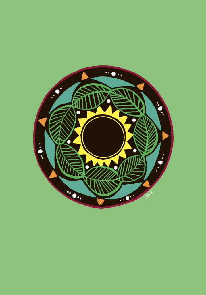 Colorful mandala on a light green background with a sun in the middle, surrounded by green leaves