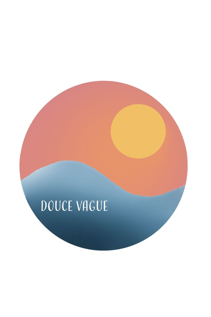 Drawing of a blue wave, orange pink sky and yellow sun. Douce Vague written on the wave