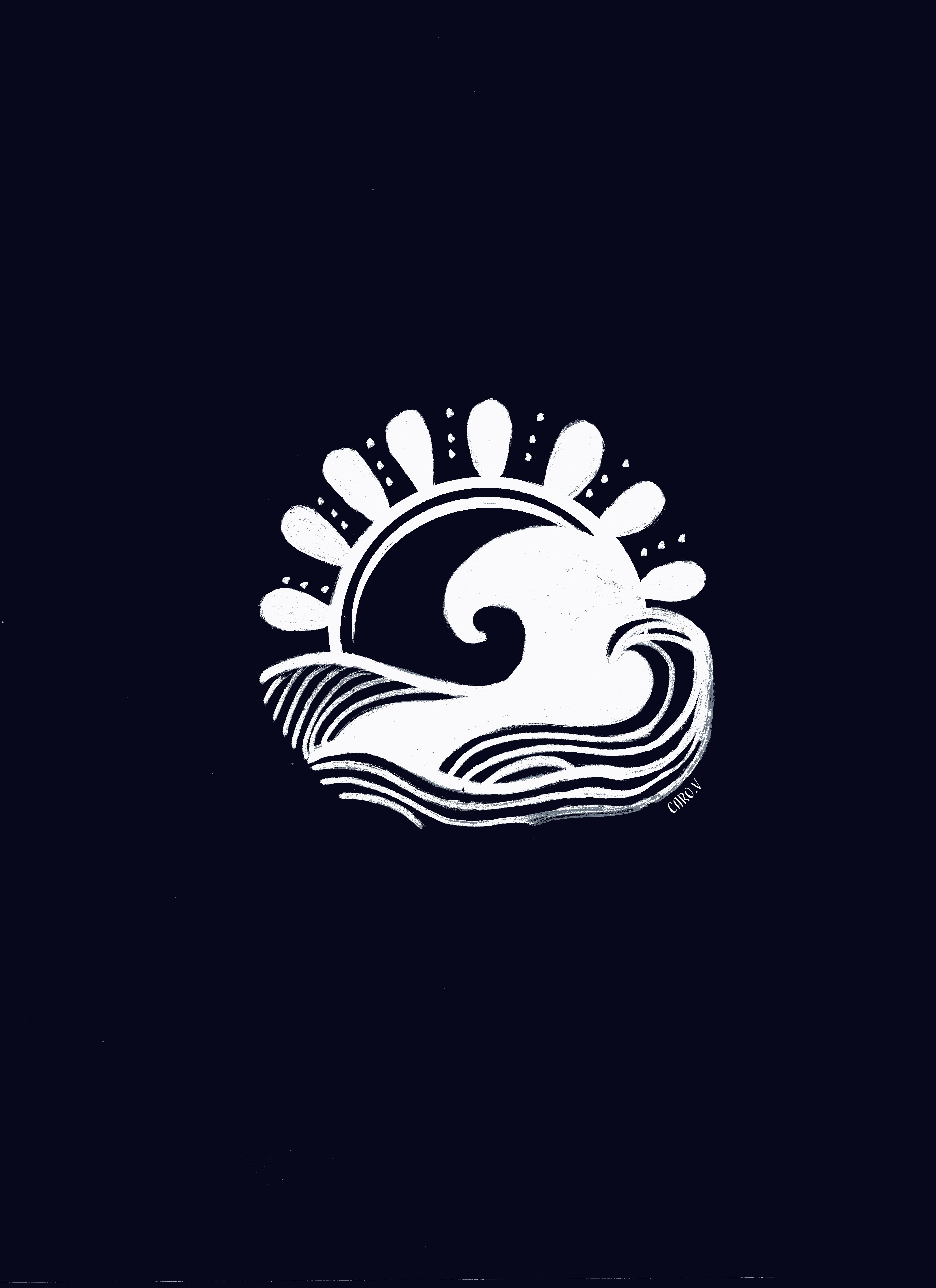 Drawing of a white sun and a wave on a navy blue background