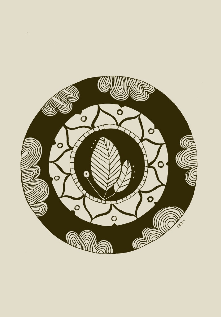 Mandala style drawing in dark and light brown with two leaves and a sun in the middle, clouds around