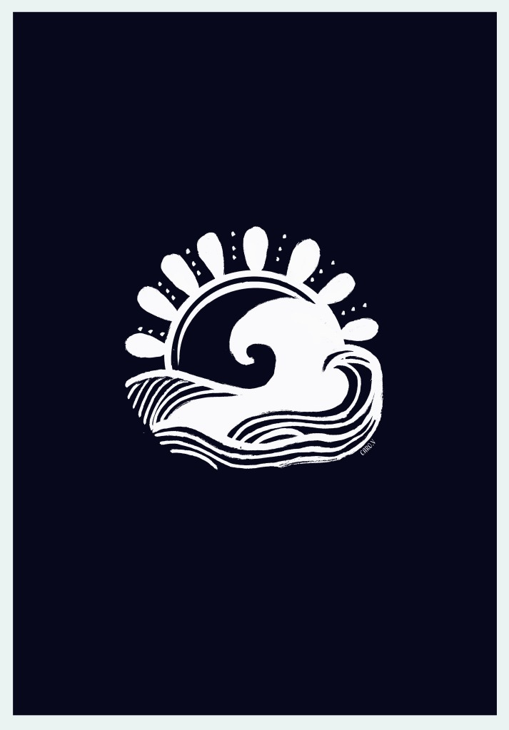 White drawing of a wave and a sun on a midnight express blue background