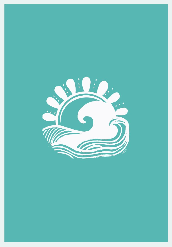 White drawing of a wave and a sun on a tiffany blue background