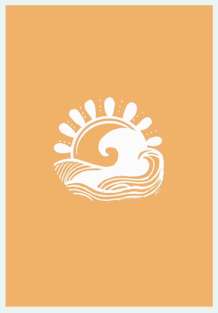 White drawing of a wave and a sun on a mango orange background
