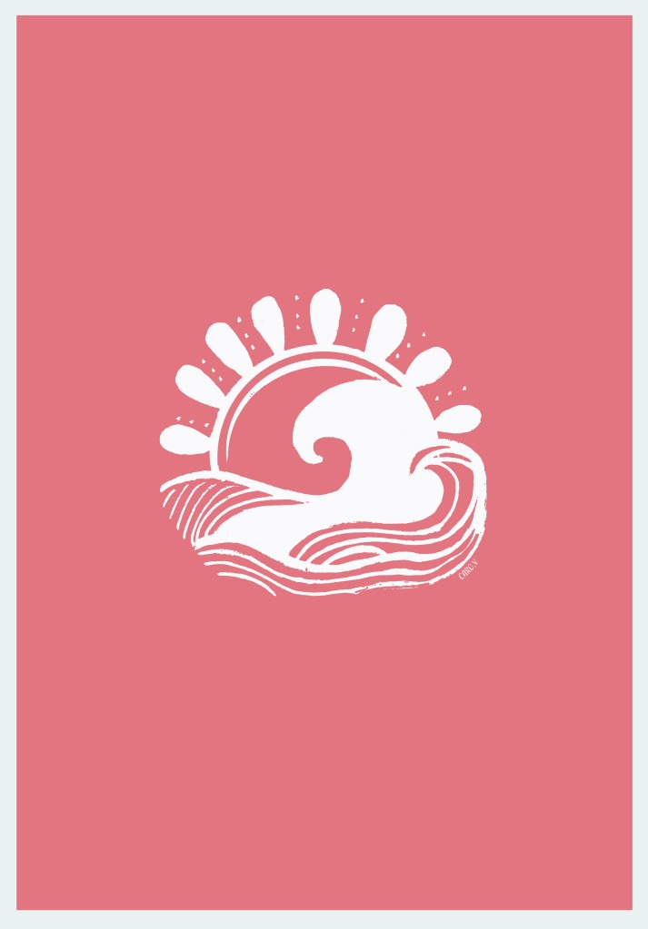 White drawing of a wave and a sun on a sunny pink background