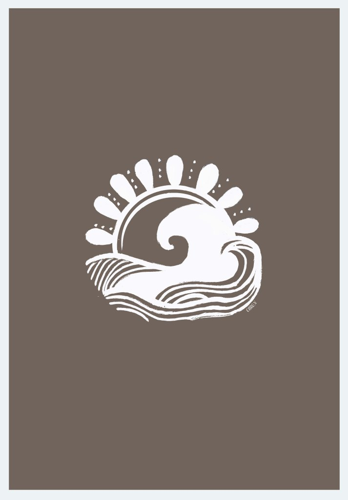 White drawing of a wave and a sun on a warm gray background