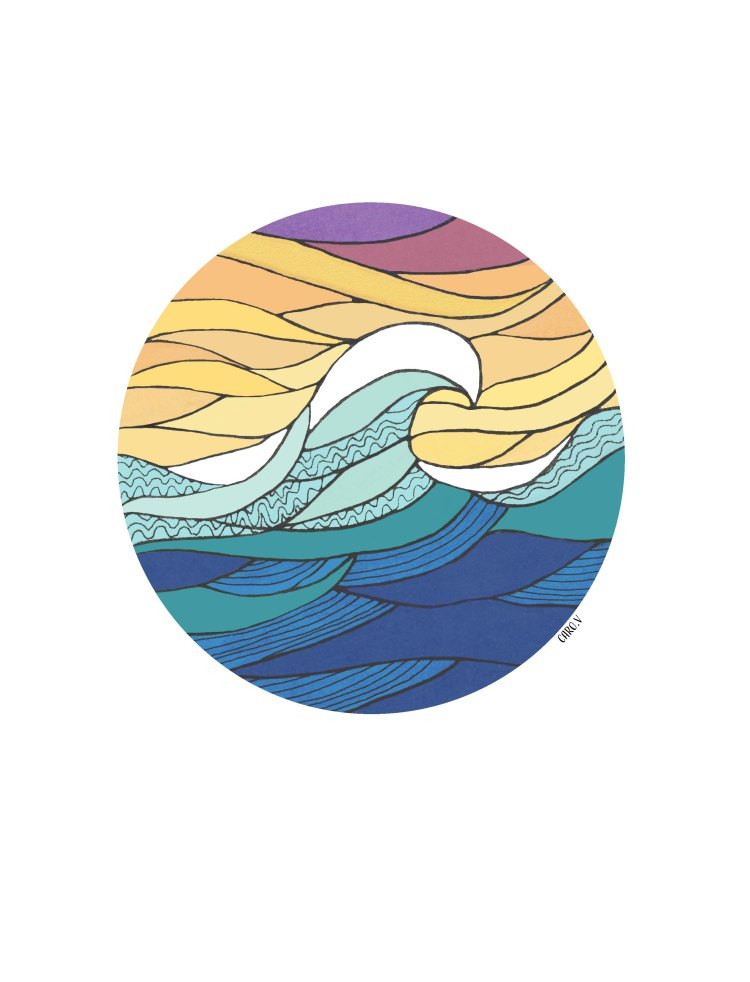Drawing of a round filled with a colorful wave and sky
