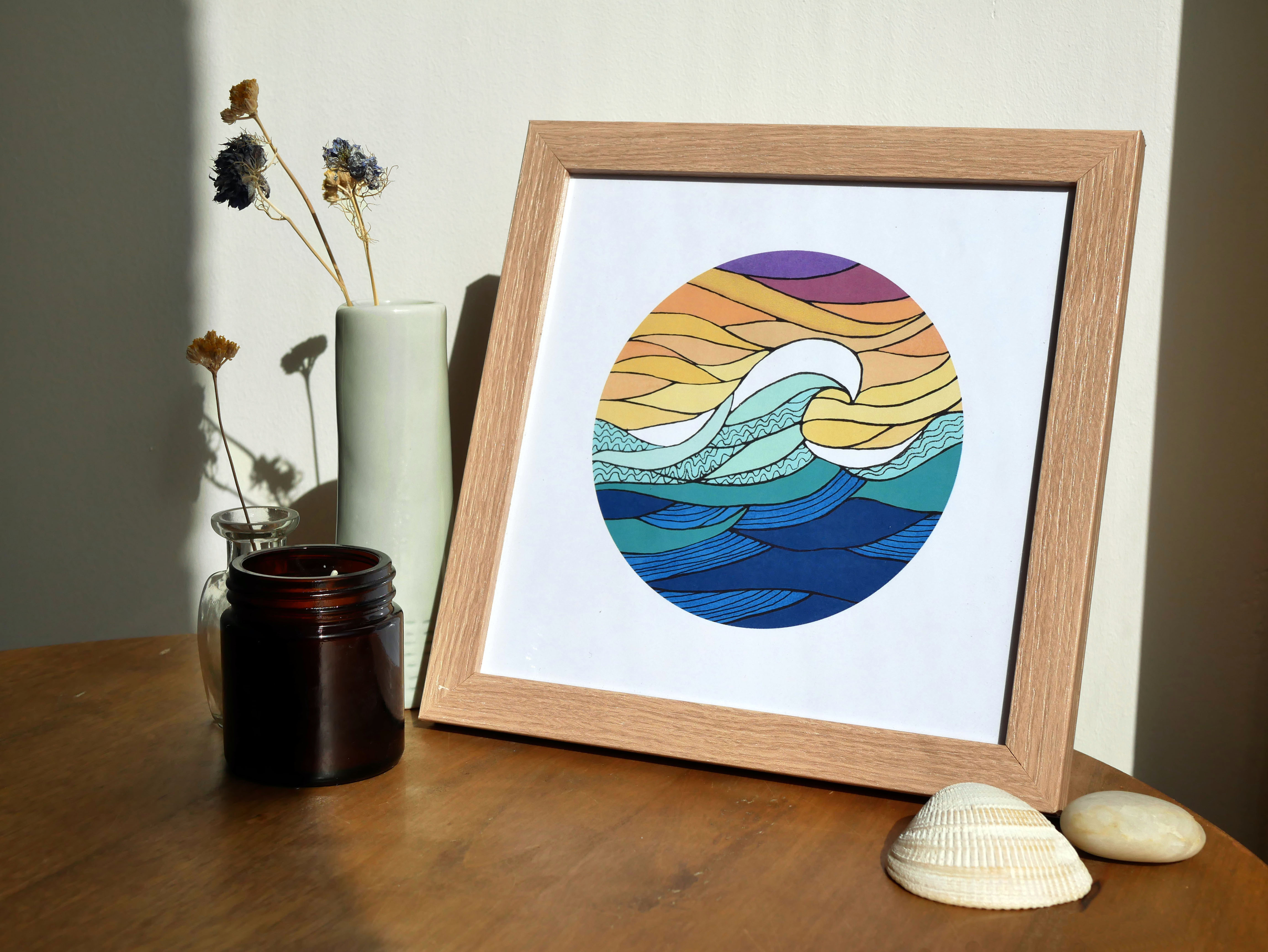 Colorful squared-size poster in a wooden frame